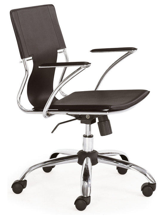 ZUO MODERN - Trafico Office Chair Espresso - This fun and functional office chair combines a modern and transitional look. The Trafico office chair is made from a solid chrome frame, leatherette sling seat and arm pads, a chrome base, and an adjustable height mechanism.