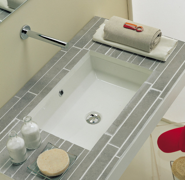 Stylish White Ceramic Rectangular Under Mount Bathroom