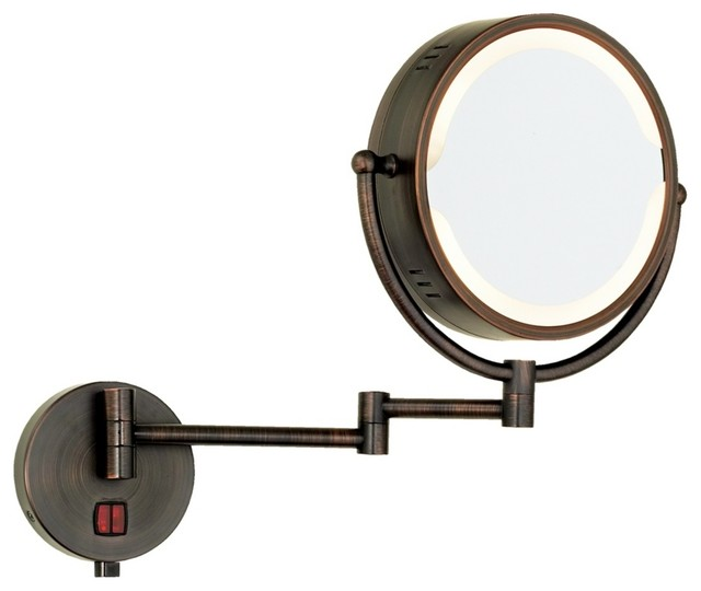 Oil Rubbed Bronze Swing Arm Plug In Lighted Vanity Mirror Contemporary Ma