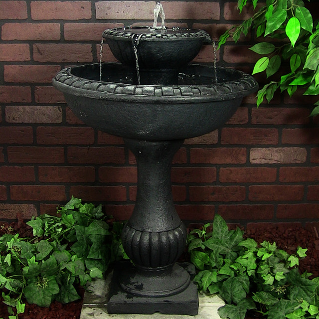 Outdoor Classics Gardens Solar on Demand Two Tiered Birdbath Fountain traditional-outdoor-fountains-and-ponds