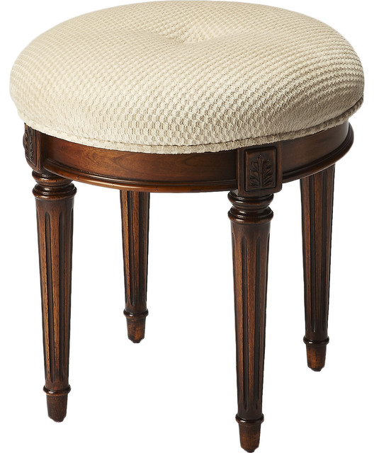Wood Burl Finish Vanity Stool Contemporary Vanity