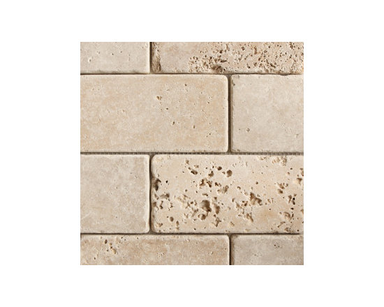 "3""x6"" Wanut Dark Brick Pattern Tumbled Natural Stone Mosaic -"