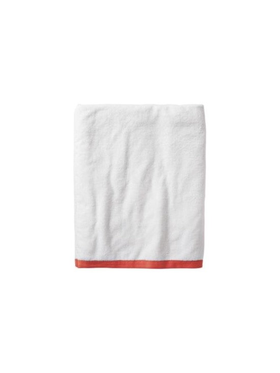 Serena & Lily - Coral Border Frame Bath Sheet - Woven in Portugal from supremely soft cotton, these towels are lofty, absorbent, quick to dry, and won't fade, fray or wear out. We love how the substantial stripe pops against the pure white cotton terry. (The washcloth was kept simple a perfect square of all white.)