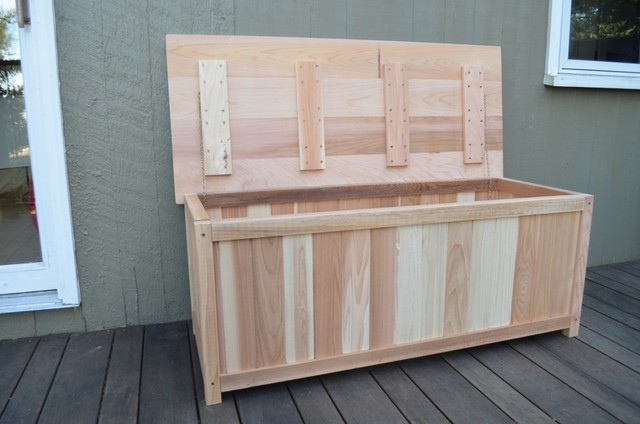 Cedar Deck Storage Box Eclectic Deck Boxes And Storage