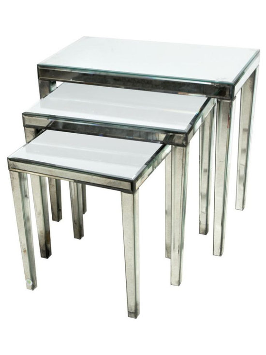 Set of Three Mirrored Nested Tables - $6,800 Est. Retail - $3,200 on Chairish.co -