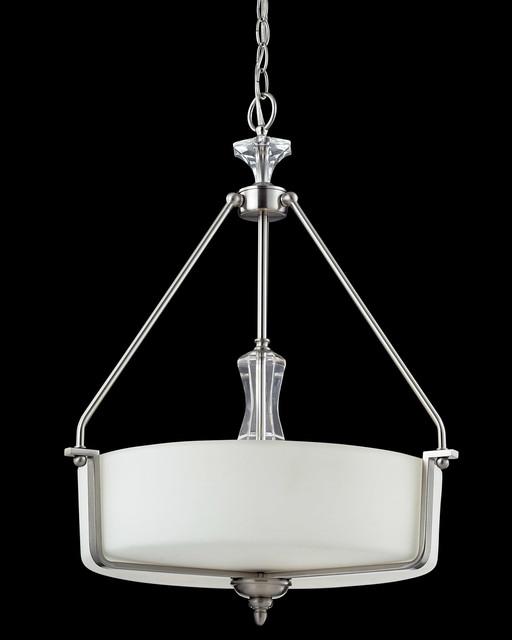 Z-Lite 2000P Avignon 3 Light Pendants in Brushed Nickel transitional-pendant-lighting