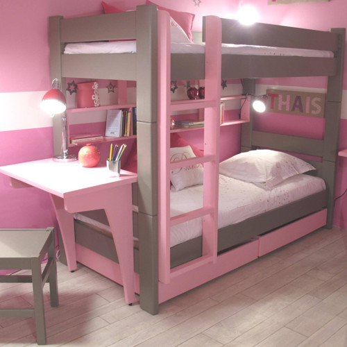 Kids bedroom bunk bed with drawers and desk in dominique for Modern bunk bed with desk