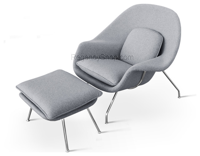 Womb Chair & Ottoman Light Grey Modern Armchairs And