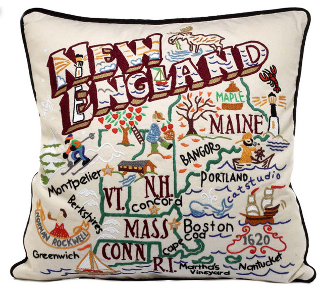 Hand-Embroidered Region Pillow modern-decorative-pillows