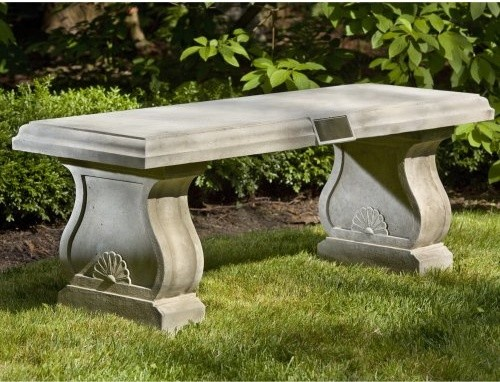 Campania International Tribute Cast Stone Backless Garden Bench Be 117 Al Contemporary