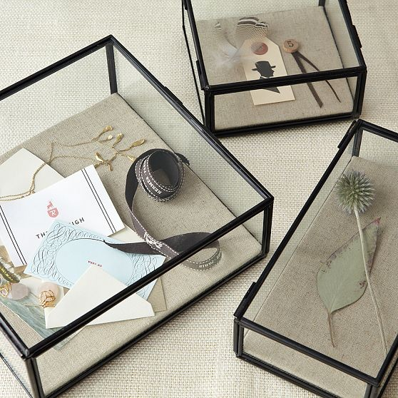 Glass Shadow Boxes eclectic storage and organization