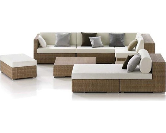 Linkin 7-Pieced Patio Sectional Set - Seven distinct pieces, clean lined styling and durable through nearly all weather conditions, this Linkin Patio Sectional is sure to be a staple piece to your home furniture collection for years to come.