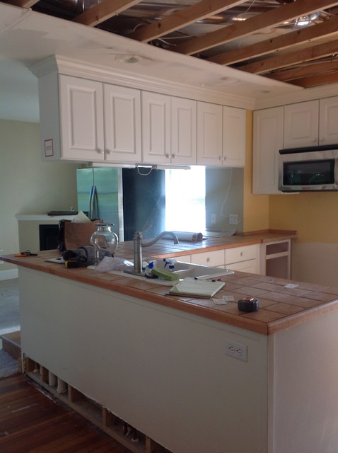 Kitchen bar area and overhanging cabinets before traditional denver by kitchens by - Bar area in kitchen ...