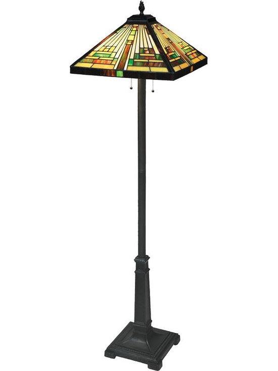 Joshua Marshal - Dark Bronze 2 Light Floor Lamp With Dark Bronze Geometry Tiffany - Finish: Dark Bronze