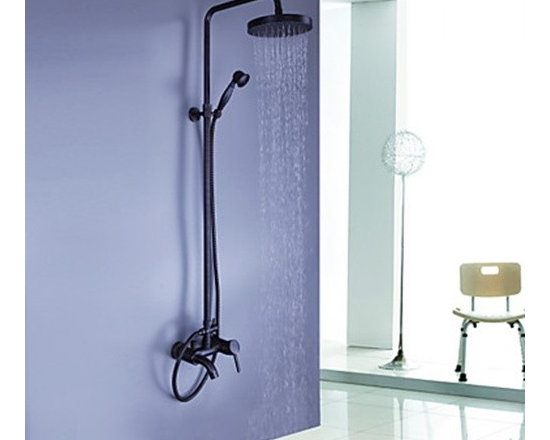 Shower Faucets - Oil-rubbed Bronze Wall Mount Waterfall Rain & Handheld Shower Faucet--FaucetSuperDeal.com