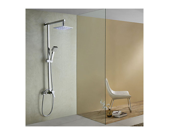 Shower Faucets - Color Changing LED Shower Faucet with 8 inch Shower Head + Hand Shower--FaucetSuperDeal.com