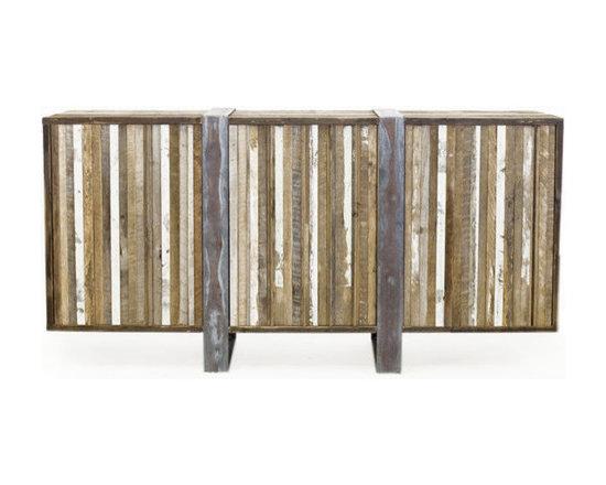 Eco Friendly Furnture and Lighting - Handbrushed raw wood with symmetrically oxidized finishing.