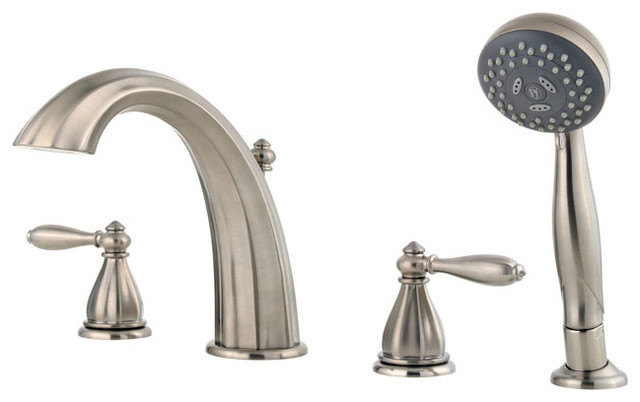 Price Pfister 461052 Portola 4 Hole Roman Tub Trim with Handshower and Handles traditional-bathroom-faucets-and-showerheads