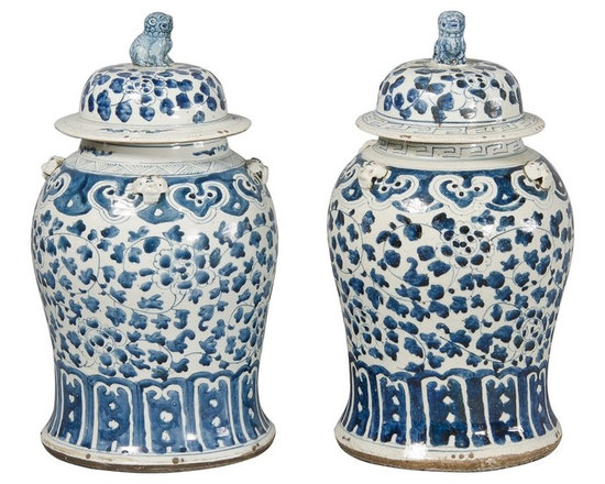 Pair Porcelain Blue and White Baluster Jars -