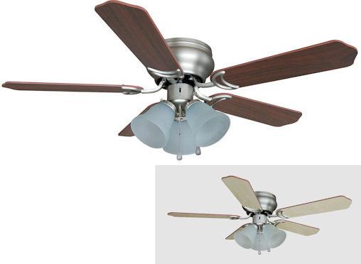 "Satin Nickel 42"" Hugger Ceiling Fan w Light Kit"