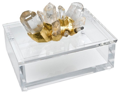 Rock Crystal w/ Gold on Clear Lucite Box eclectic-home-decor