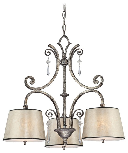 Traditional Kendra Mottled Silver Oyster Mica Three Light Chandelier traditional-chandeliers
