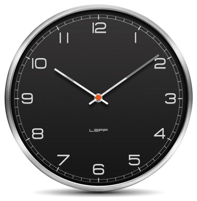 one wall clocks stainless steel embossed black arabic modern clocks by design public. Black Bedroom Furniture Sets. Home Design Ideas