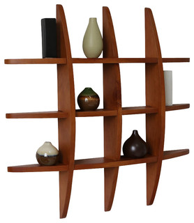 Welland Lexington Globe Cross Display Wall Shelf, Honey Oak - Contemporary - Display And Wall ...