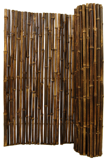 """Natural Black Rolled Bamboo Fence 1"""" D X 3' H X 8' L tropical-fencing"""