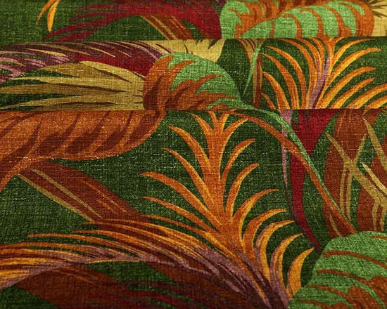 Havana Fabric in Jungle Green - Havana Fabric in Jungle Green is a tropical leaf patterned, multi-colored fabric ideal for upholstering projects, drapery, or pillows. This heavily discounted fabric is available online by the yard. 100% polyester with a width of 62″. This fabric has fire rating and passes 50,000 Double Rubs abrasion test. Machine washable with warm water.