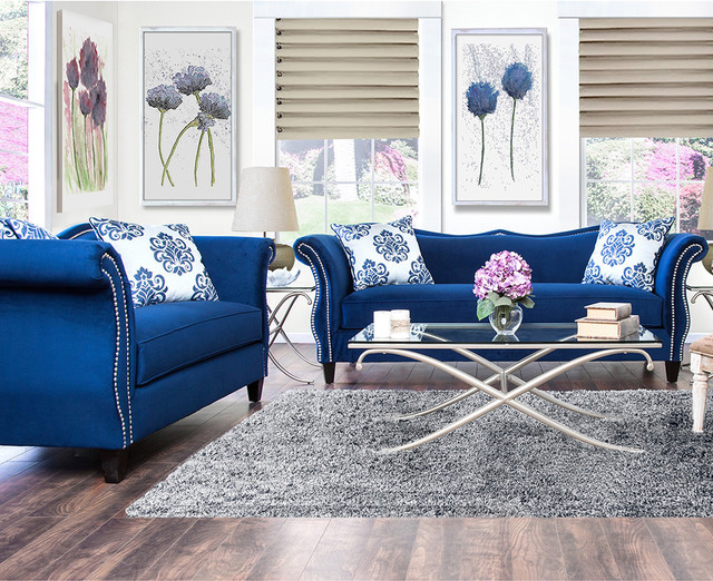 Furniture Of America Othello 2 piece Royal Blue Sofa Set