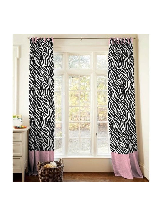 Black and White Zebra Drapes - Window drape panel in Black and White Zebra Minky with coordinating bottom trim in Hot Pink Leopard. Hot Pink Leopard tie tops.  Made in USA by Carousel Designs.