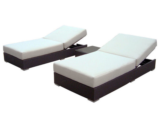 ELB Outdoor - ELB Outdoor Atlantic Beach Double Recliner Set, Cushion White - Once you experience the luxurious comfort of the ELB Outdoor Atlantic Beach All-Weather Wicker Double Recliner Set, you might end up spending most of your time outdoors!