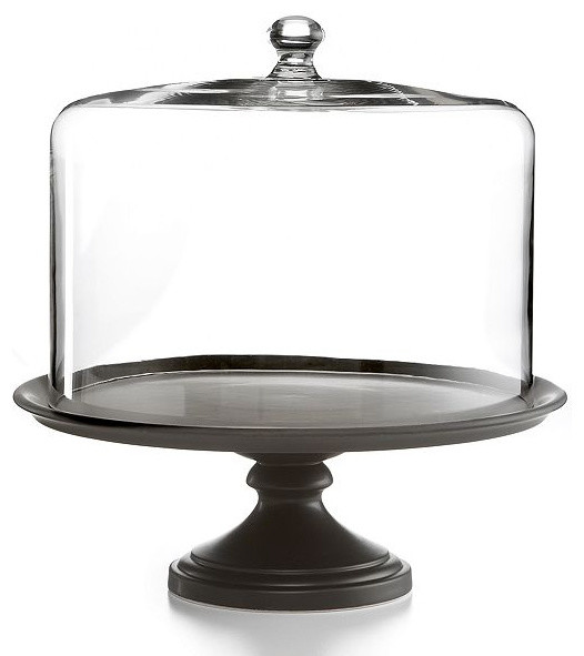 Martha Stewart Collection Serveware, Black Ceramic Cake Stand with Dome - Contemporary - Dessert ...