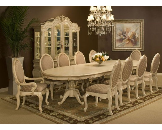 AICO Furniture - Lavelle 9 Piece Palatial Oval Table Set - 54002-04-9Set - Set includes  Dining Table, 6 Side Chairs and 2 Arm Chairs