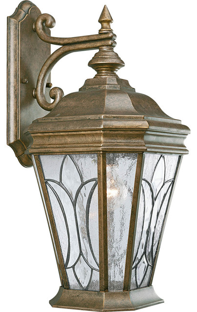 Progress Lighting P5660-86 1-Light Wall Lantern with Tiffany Style Art Glass transitional ...