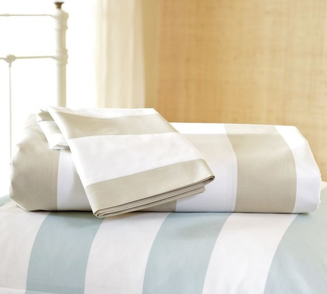 Classic Stripe 400-Thread-Count Duvet Cover and Sham, Sandalwood traditional-duvet-covers-and-duvet-sets
