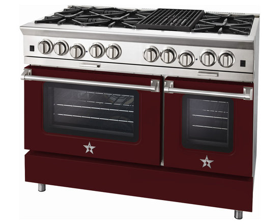 "BlueStar Platinum Series: 48"" Range - 48"" BlueStar Platinum Range in Wine Red (RAL 3005)"