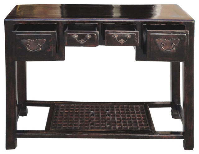 Chinese Antique Butterfly Hardware Deco Altar Console Table Writing Desk traditional-side-tables-and-end-tables