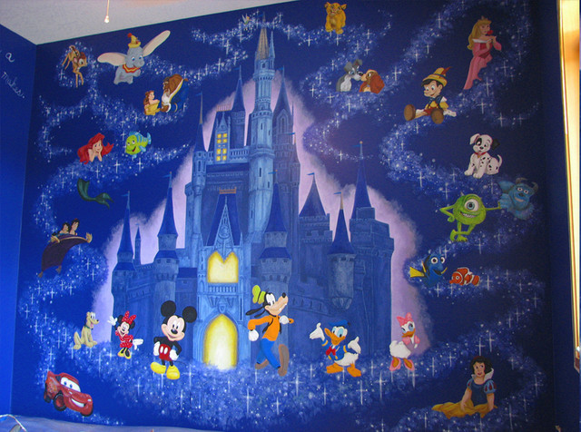 Disney mural contemporary minneapolis by walls of for Castle mural kids room