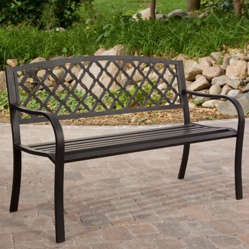 Great American Woodies 4 ft. Crossweave Back Garden Bench and Optional Cushion P contemporary-outdoor-benches