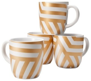 Threshold Stoneware Decal Mugs With Gold Zigzag - Eclectic ...