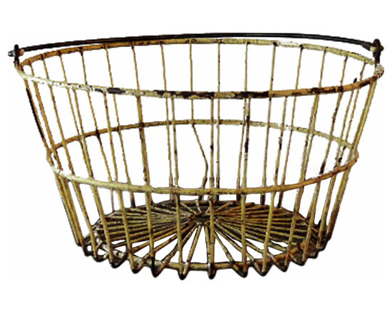 Wire Farm Egg Basket - Lovely, vintage wire farm egg basket. Well worn and rustic. This piece would look great holding cozy blankets or sitting on a counter!