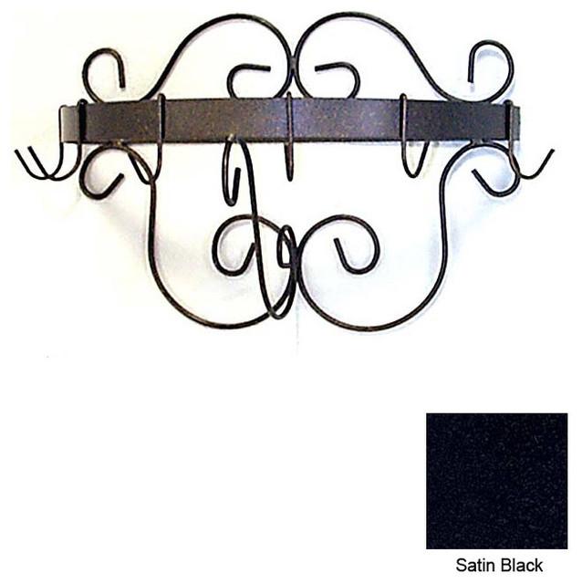 Half Round Pot Rack with Curls-6 Hooks - Satin Black modern-pot-racks