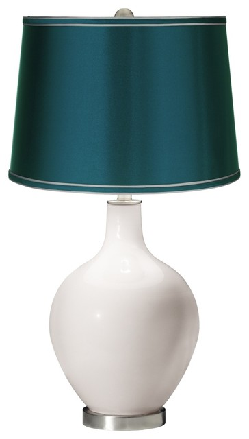 contemporary smart white satin teal shade ovo table lamp. Black Bedroom Furniture Sets. Home Design Ideas
