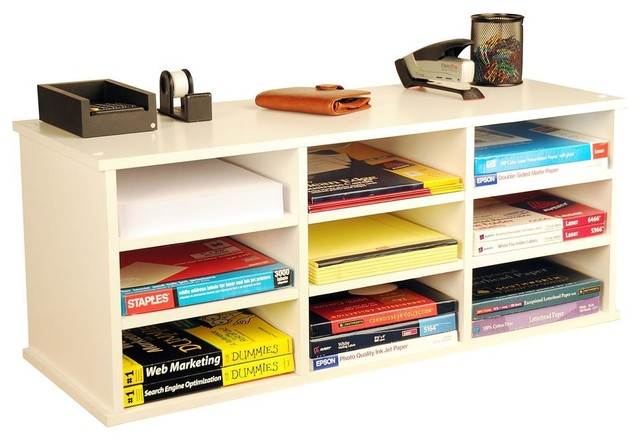 Desk organizer in white finish w 6 adjustable - Modern desk accessories and organizers ...