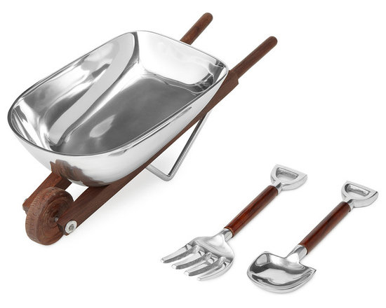 Wheelbarrow Salad Bowl With Wooden Utensils -