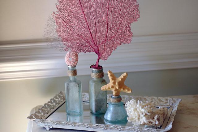 Beach Decor Vintage Aqua Glass Bottles by Beautiful Details by the Seashore tropical-home-decor