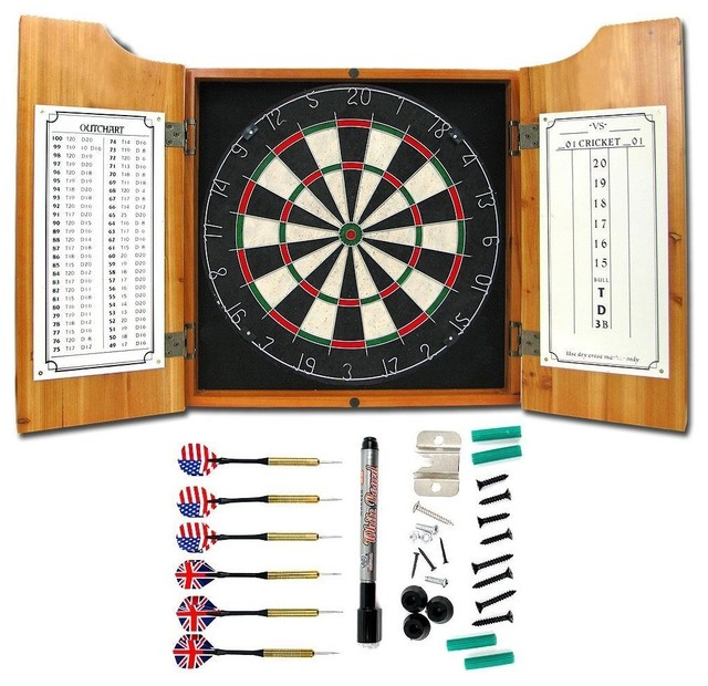 Solid Wood Dart Cabinet with Dartboard & Dart contemporary-games