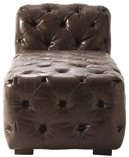 Lia tufted chaise traditional indoor chaise lounge chairs for Avenue six curves tufted chaise lounge